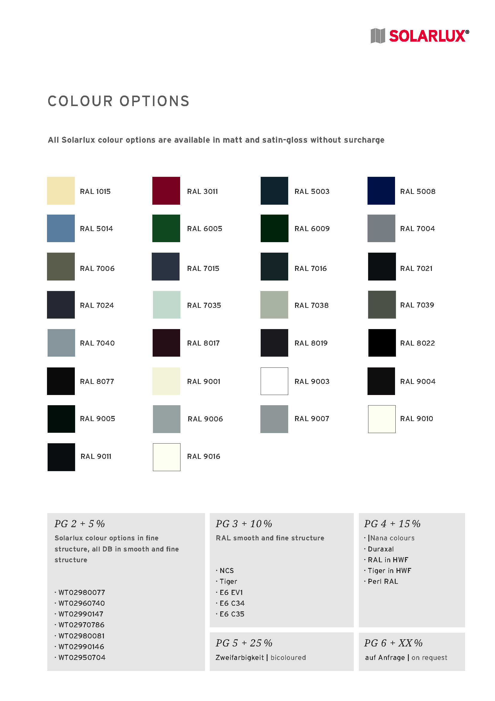 Solarlux standard colours